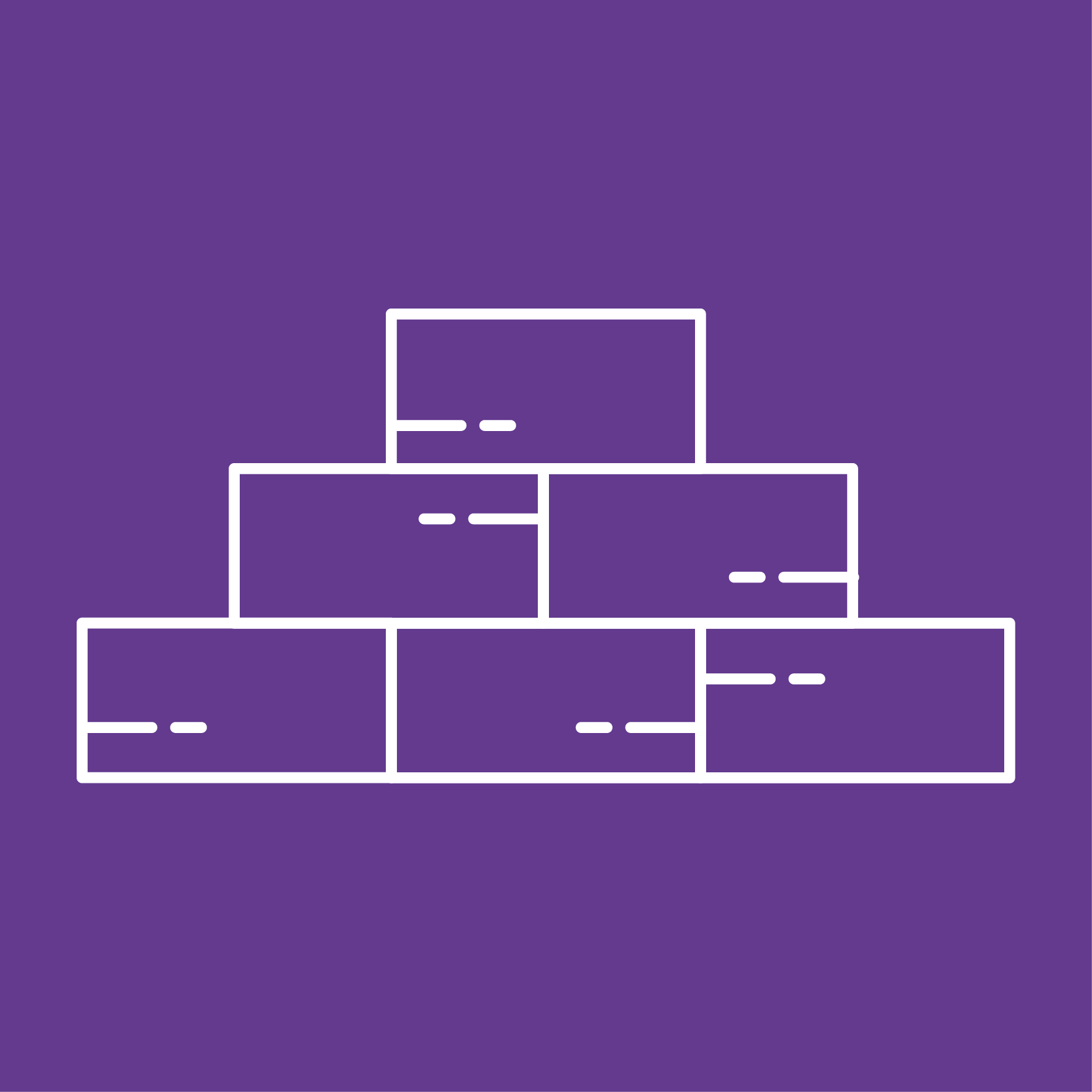 Purple square with a graphic of stacked bricks