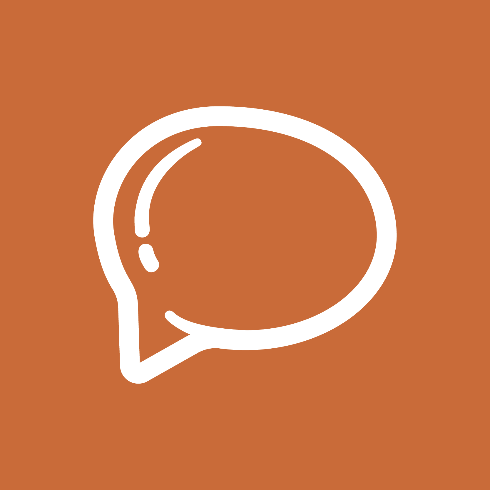An orange square with a white speech bubble graphic