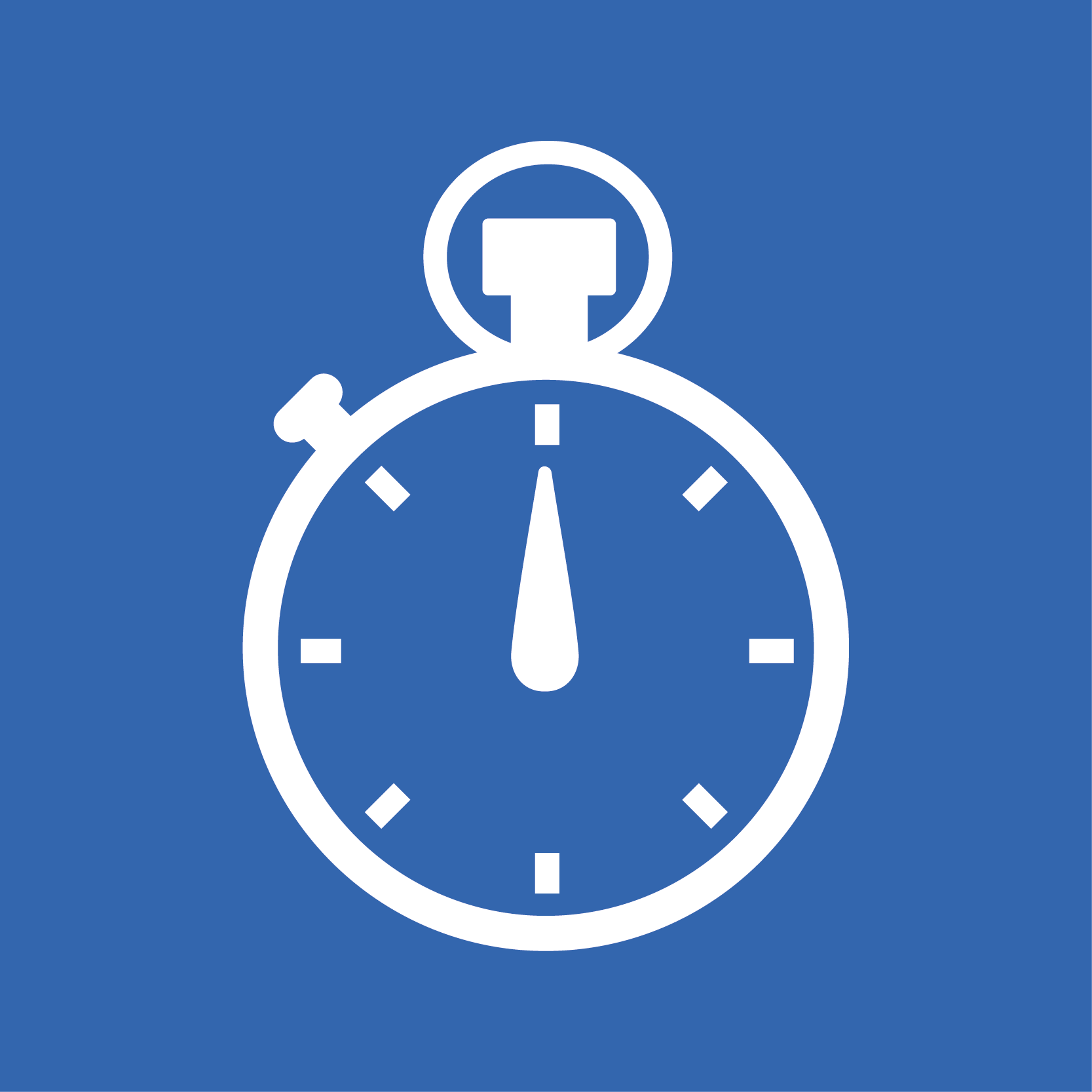 Blue square with a graphic of a stopwatch